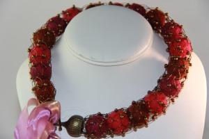 felt balls vintage bugles french knit necklace